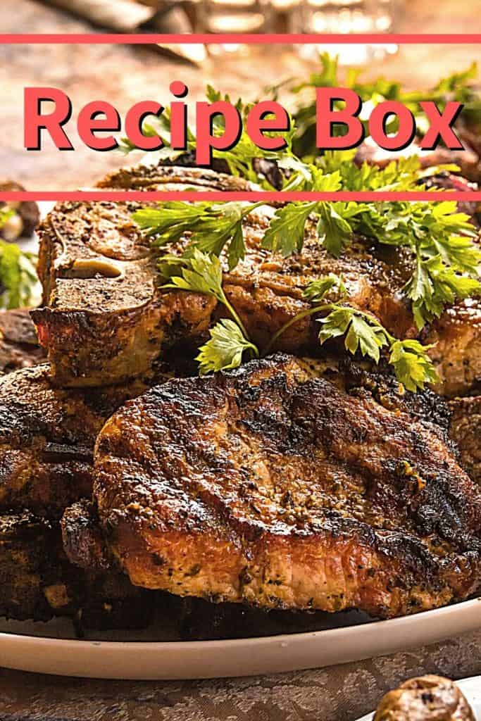Little Red Acres - recipe box - pork chops on plate