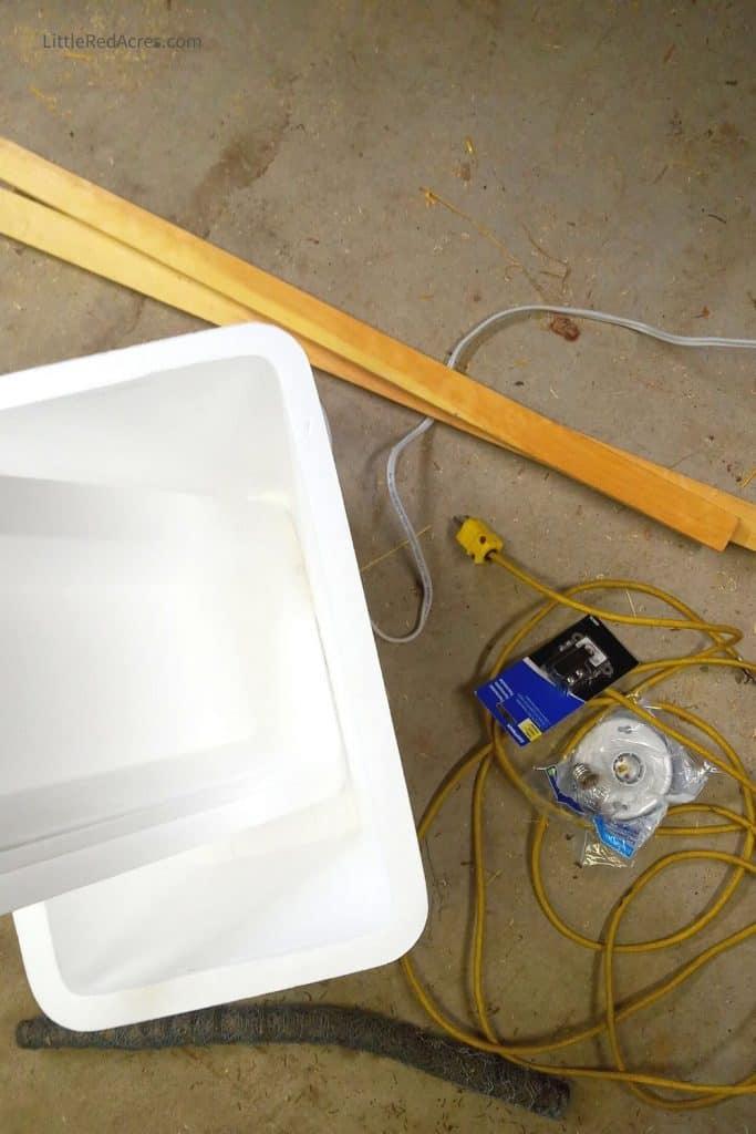 Homemade Foam Cooler Egg Incubator - supplies